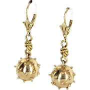 Sputnik Drop Earrings Vintage 14 Karat Yellow Gold Estate Fine Jewelry Pre Owned