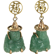 Jade Buddha Earrings Vintage 14 Karat Yellow Gold Estate Fine Jewelry Pre Owned