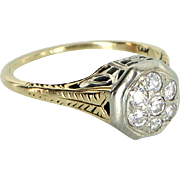 Diamond Cluster Ring Vintage Art Deco 14 Karat Gold Estate Jewelry Heirloom