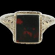 Bloodstone Antique Art Deco Filigree Ring Vintage 14 Karat White Gold Estate Fine Jewelry