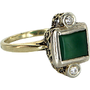 Vintage Art Deco Chrysoprase Diamond Cocktail Ring 14 Karat Gold Estate Jewelry
