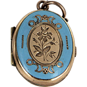 Antique Victorian Locket Blue Enamel 14 Karat Rose Gold Vintage Fine Jewelry Heirloom