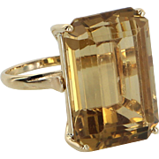 Large 30ct Citrine Cocktail Ring Vintage 18 Karat Yellow Gold Estate Fine Jewelry