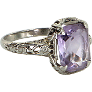 Vintage Art Deco Amethyst Filigree Ring 14 Karat White Gold Estate Fine Jewelry
