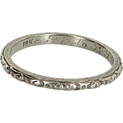 Vintage Art Deco Sz 6.75 Wedding Band Ring 18 Karat White Gold Estate Fine Jewelry