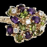 Peridot Amethyst Diamond Cluster Dome Cocktail Ring Vintage 14 Karat Yellow Gold