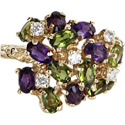Peridot Amethyst Diamond Cluster Dome Cocktail Ring Vintage 14 Karat Yellow Gold