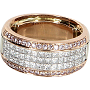 Simon G 1.36ct Pink Diamond Caviar Collection Band Ring Estate Jewelry Size 5 18 Karat Gold