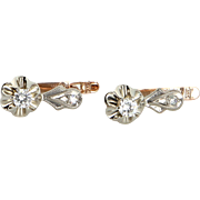 Russian Tulip Diamond Earrings Vintage 14 Karat Rose & White Gold Estate Fine Jewelry Heirloom