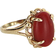Ox Blood Red Coral Cocktail Ring Vintage 14 Karat Gold Estate Fine Jewelry Pre Owned