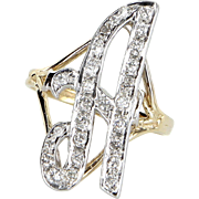 Large Letter A Diamond Initial Script Ring Vintage 14 Karat Gold Estate Pre Owned