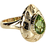Peridot Cocktail Ring Vintage 14 Karat Yellow Gold Estate Fine Jewelry Pre Owned