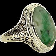 Carved Jade Filigree Cocktail Ring Vintage 14 Karat Gold Estate Fine Jewelry Heirloom