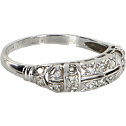 Vintage Art Deco 900 Platinum Diamond Wedding Band Ring Estate Heirloom Jewelry 6.5