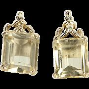 Citrine Stud Earrings Vintage 14 Karat Yellow Gold Estate Fine Jewelry Heirloom