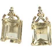 Citrine Stud Earrings Vintage 14 Karat Yellow Gold Estate Fine Jewelry Heirloom