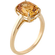 Citrine Small Cocktail Stacking Ring Vintage 14 Karat Yellow Gold Estate Fine Jewelry
