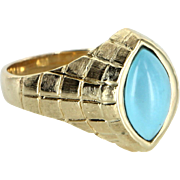 Mens Turquoise Ring Vintage 14 Karat Yellow Gold Estate Fine Jewelry Heirloom Sz 11