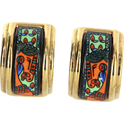 Hermes Enamel Clip Earrings Vintage Yellow Gold Plated Estate Designer Jewelry