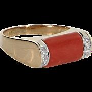 Coral Diamond Stacking Ring Vintage 14 Karat Yellow Gold Estate Fine Jewelry Heirloom