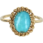 Turquoise Cocktail Ring Vintage 14 Karat Yellow Gold Estate Fine Jewelry Pre Owned