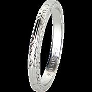 Belais 18 Karat White Gold Vintage Embossed Wedding Band Ring Art Deco Sz 6.5