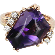 Cabochon Cut Amethyst Diamond Cocktail Ring Vintage 14 Karat Gold Estate Jewelry