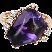 Cabochon Cut Amethyst Diamond Cocktail Ring Vintage 14 Karat Gold Estate Jewelry