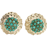 Turquoise Cluster Clip Earrings Vintage Wreath 14 Karat Yellow Gold Estate Jewelry