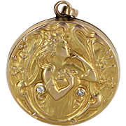 Antique Art Nouveau Locket Pendant Diamond Vintage 14 Karat Yellow Gold Estate Fine