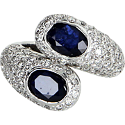 Sapphire Diamond Bypass Ring Vintage 18 Karat White Gold Estate Fine Jewelry Sz 5