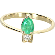 Emerald Diamond Stacking Ring Vintage 18 Karat Yellow Gold Estate Fine Jewelry