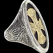 Konstantino Maltese Cross Ring 18 Karat Gold Sterling Silver Estate Fine Jewelry 6.75