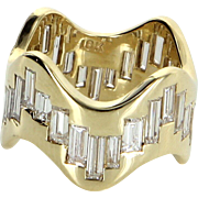 Undulating 3.50ct Diamond Eternity Ring Vintage 18 Karat Yellow Gold Estate Jewelry