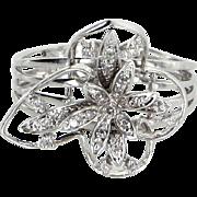 Butterfly Diamond Cocktail Ring Estate 14 Karat White Gold Vintage Fine Jewelry