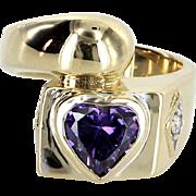 Amethyst Heart Ring Diamond Vintage 14 Karat Yellow Gold Estate Fine Jewelry Heirloom