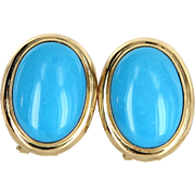 Turquoise Cocktail Earrings Estate 14 Karat Yellow Gold Vintage Fine Jewelry