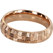 Textured 14 Karat Rose Gold Band Ring Estate Fine Jewelry Pre Owned Sz 8