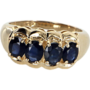 4 Stone Sapphire Band Ring Vintage 14 Karat Yellow Gold Estate Fine Jewelry Heirloom