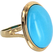 Turquoise Cocktail Ring Estate 14 Karat Yellow Gold Pre Owned Fine Jewelry Vintage 5