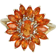Mexican Fire Opal Diamond Cocktail Ring Vintage 14 Karat Yellow Gold Estate Jewelry