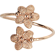 Hibiscus Flower Bypass Ring Estate 14 Karat Rose Gold Pre Owned Jewelry Sz 5