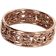 Textured 14 Karat Rose Gold Band Ring Estate Fine Jewelry Pre Owned Sz 7.5