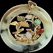 Jadeite Jade Round Disc Pendant Vintage 14 Karat Yellow Gold Estate Jewelry Heirloom