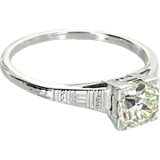 Vintage Art Deco 0.85ct Diamond Engagement Ring Pre Owned 18k White Gold Estate