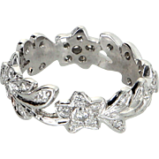 Diamond 900 Platinum Eternity Ring Sz 5 3/4 Vintage Fine Estate Jewelry Flower Leaf