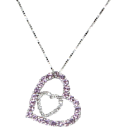 Double Heart Necklace Pink Topaz Diamond Estate 14 Karat White Gold Fine Jewelry