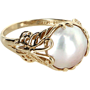 Franklin Mint Ring of Butterflies Vintage 14 Karat Gold Mabe Pearl Hanae Mori Jewelry