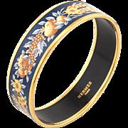 Hermes Enamel Bracelet Wide Sz 65 Fruit Flower Pattern Yellow Gold Tone Jewelry