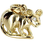 Retired Tiffany & Co Mouse Charm Vintage 18 Karat Gold Diamond Fine Jewelry Heirl
